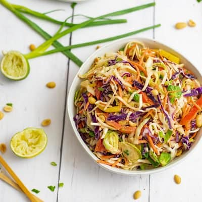 Asian Cabbage Slaw with Peanut Lime Dressing