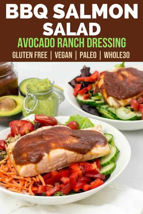 simple oven baked bbq salmon salad with tomatoes, bell peppers, carrots, lettuce