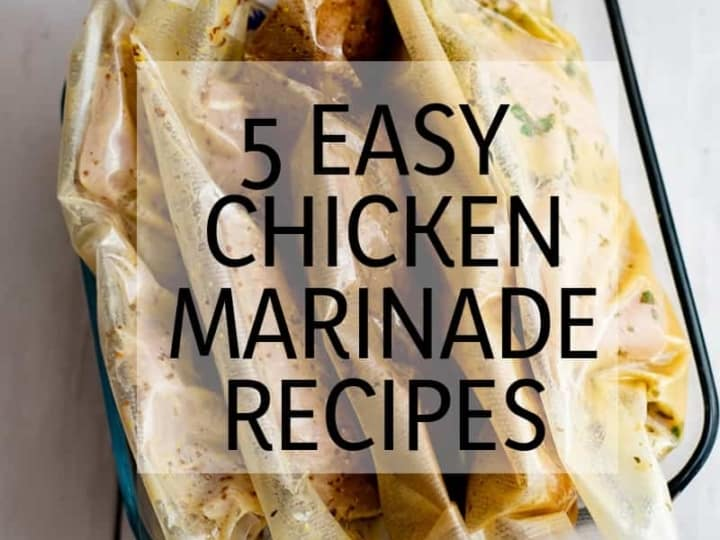 5 bags of chicken sealed with each easy chicken marinade recipe individually in each bag.