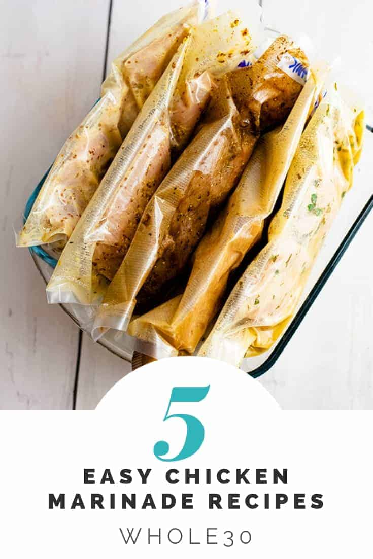 5 sealed bags filled with easy chicken marinade recipe and chicken in a glass container