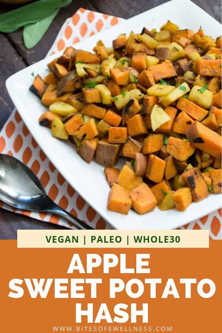 quick apple sweet potato hash on a plate with apples over an orange napkin