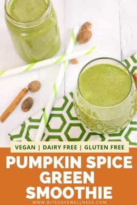 Pumpkin spice green smoothies in two glasses with cinnamon sticks and nutmeg over a green pattern napkin