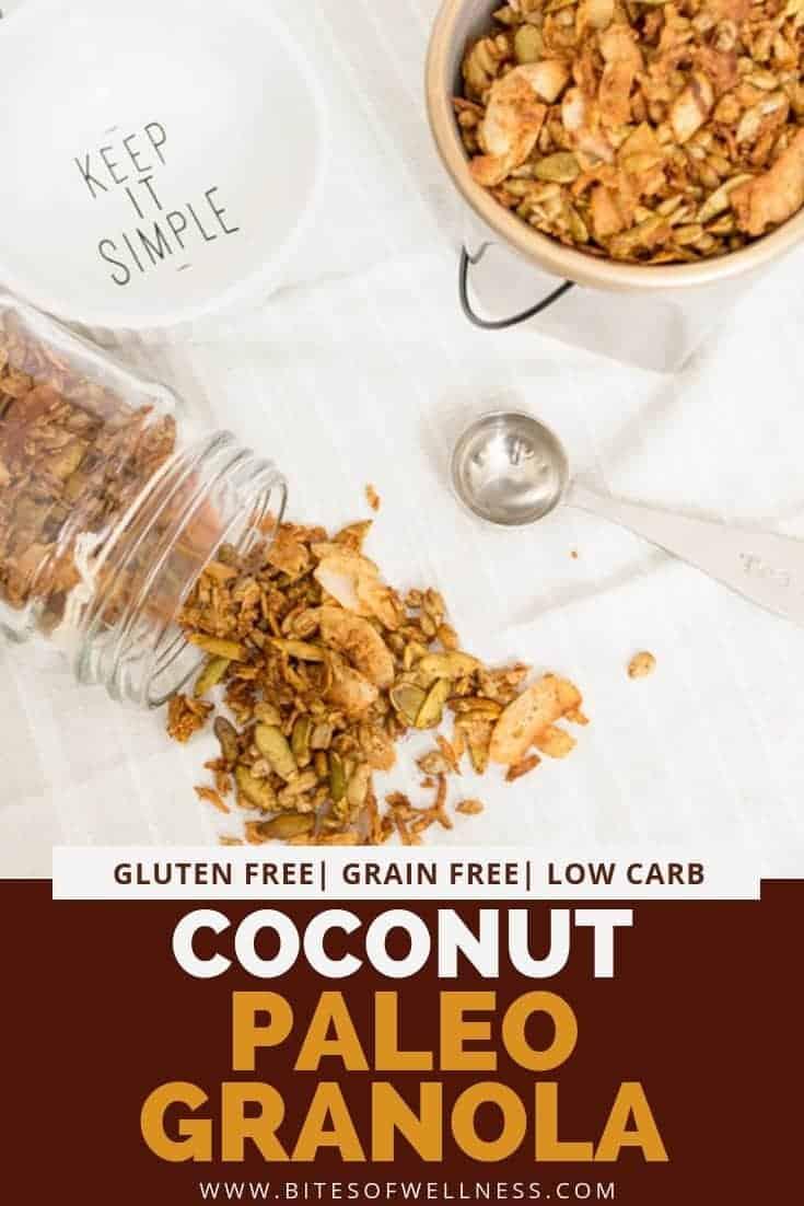 Mason jar filled with coconut paleo granola spilling out onto a napkin