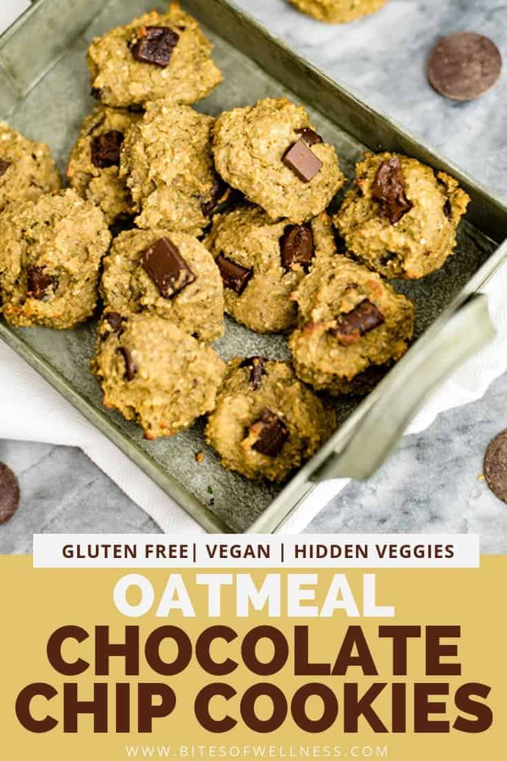 Grey tray filled with healthy oatmeal chocolate chip cookies with pinterest text on the bottom