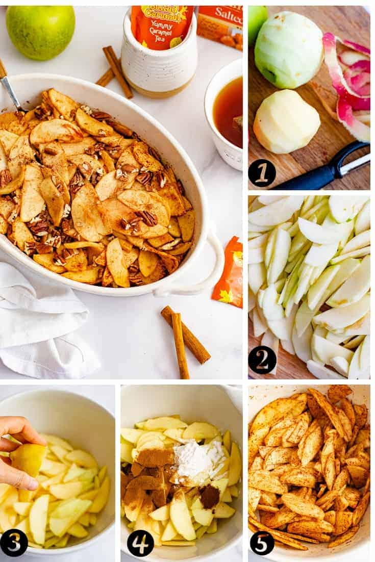 Visual representation of the steps to make this healthy baked sliced apple recipe. See instructions for steps