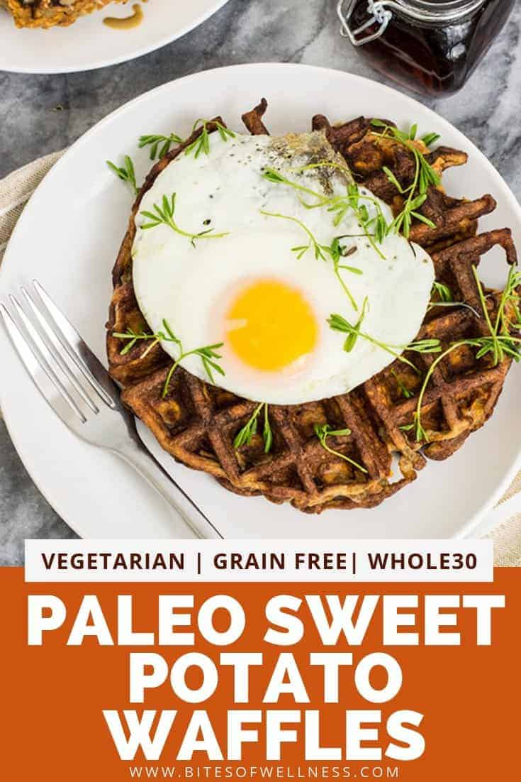 Paleo sweet potato waffle topped with an over easy egg on a white plate with pinterest text at bottom of photo