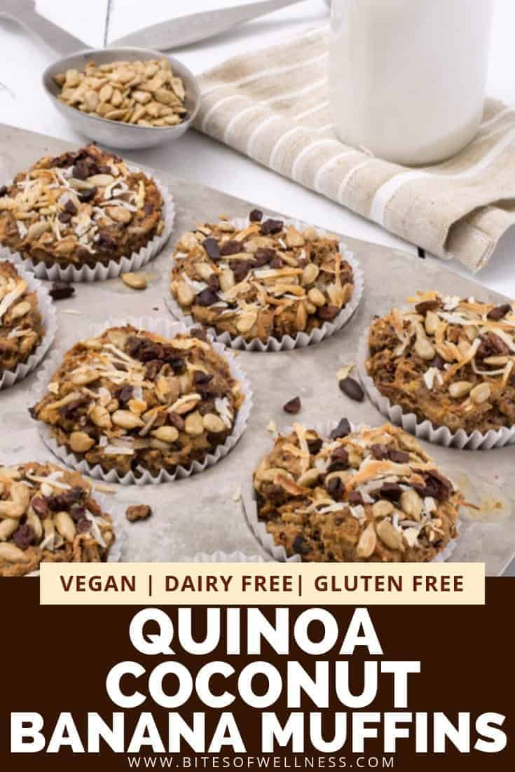 Quinoa coconut banana muffins in a muffin tin with spoonful of sunflower seeds in the background.