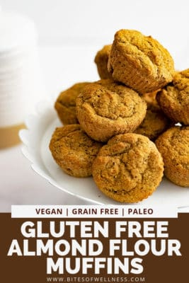 White serving plate filled with gluten free almond flour muffins with pinterest text on the bottom of the photo