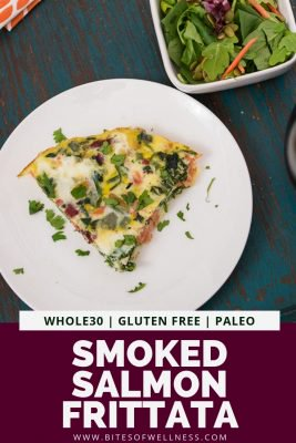 White plate with smoked salmon frittata with pinterest text on the bottom