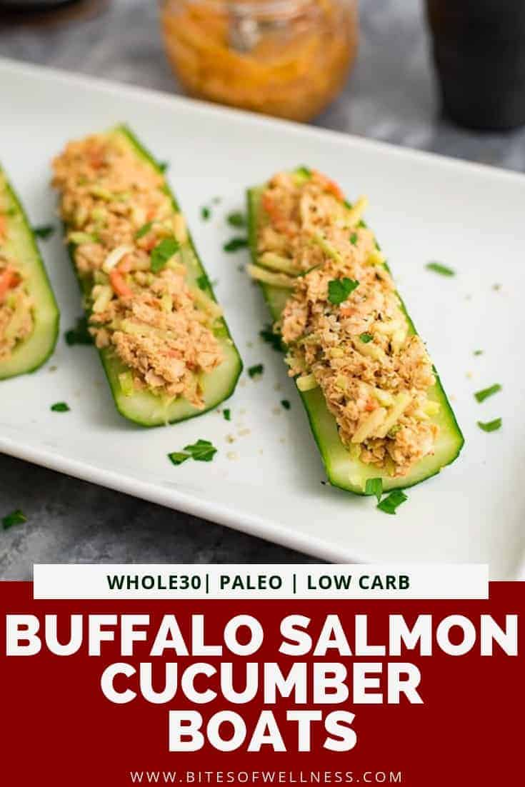 White plate filled with buffalo salmon cucumber bites with pinterest text on the bottom