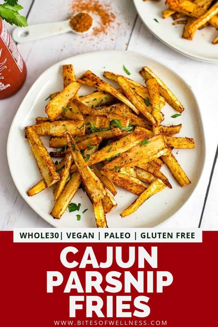 Plate filled with cajun parsnip fries with pinterest text on the bottom of the photo
