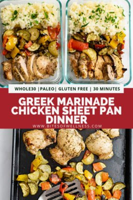 Pinterest pin for greek marinade chicken sheet pan dinner with meal prep chicken bowls in glass tupperware on the top of the pin and a photo of the chicken and veggies on a sheet pan on the bottom of the photo