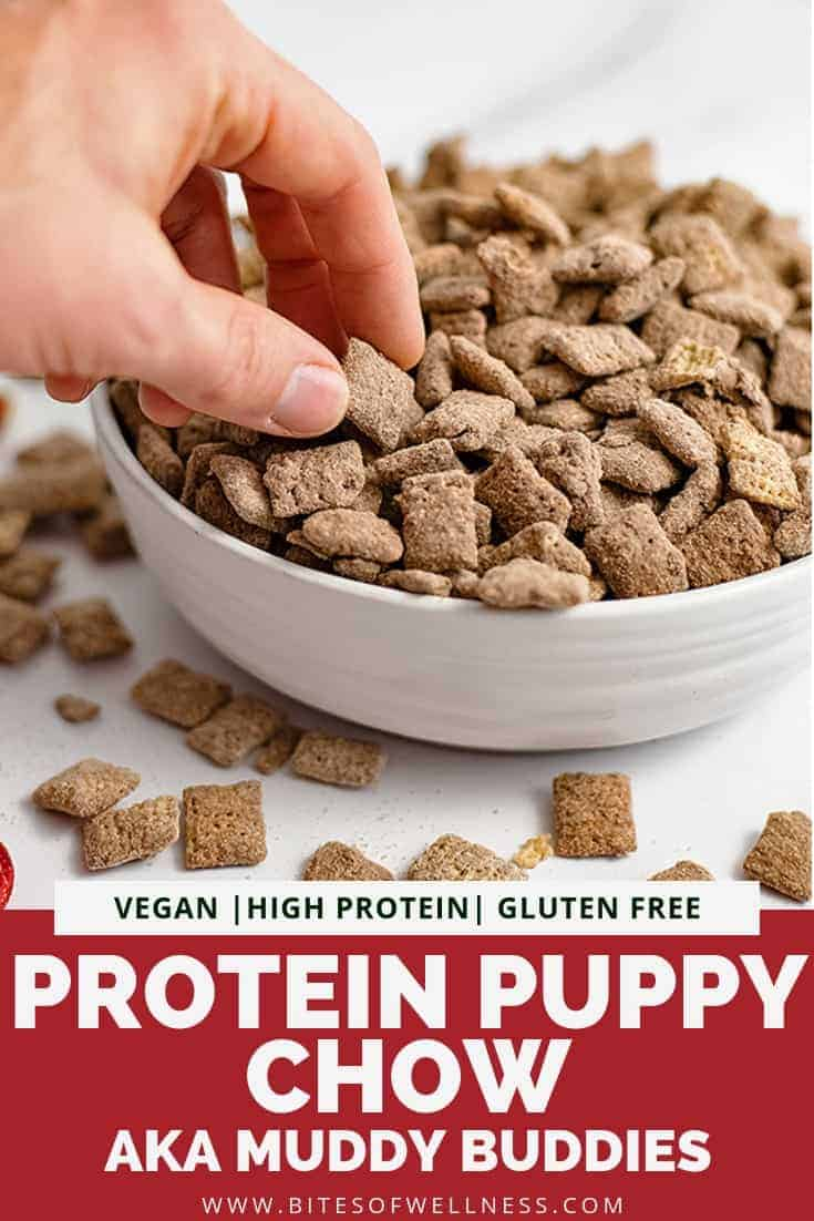 Protein puppy chow (muddy buddies) is a healthy way to enjoy a holiday favorite! This recipe is high in protein, gluten free, vegan friendly and is much lower in sugar than traditional puppy chow! Kids will love this version too! Perfect for holiday treats! #puppychow #holidaytreats #holidayparty #glutenfree