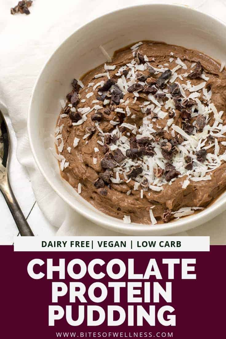 Overhead shot of bowl of simple chocolate protein pudding with coconut flakes and cacao nibs on top with a spoon to the left side of the photo. Pinterest text on the bottom of the photo