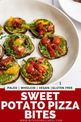 Plate filled with sweet potato pizza bites with pinterest text on the bottom