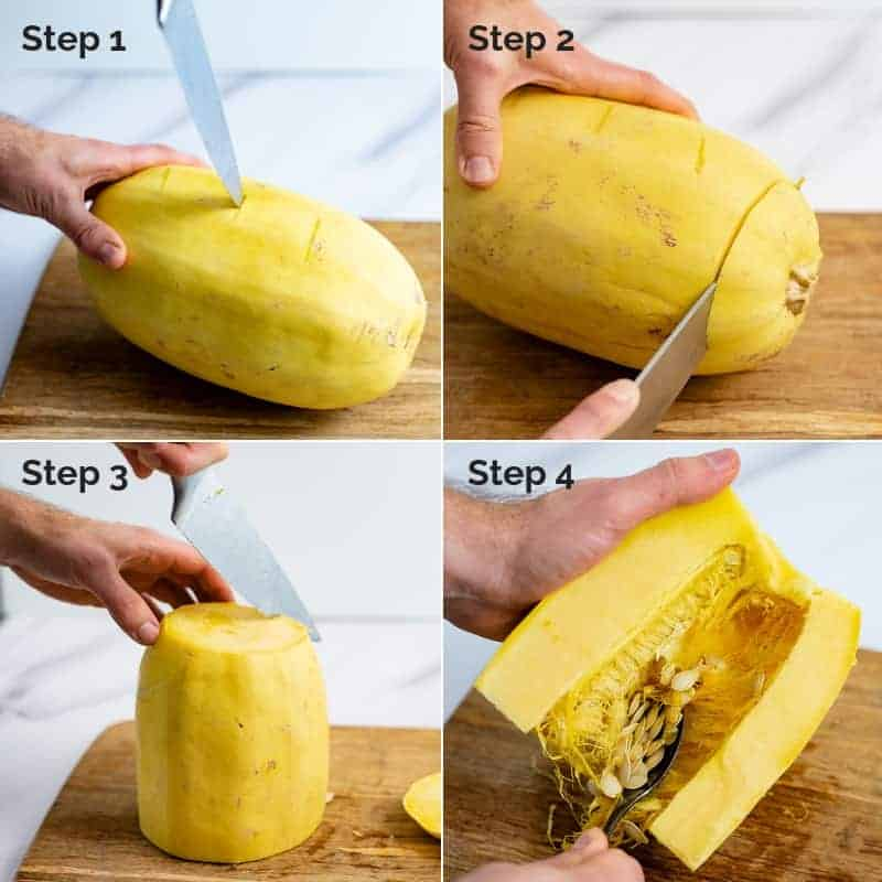 Collage for how to cut a spaghetti squash for cooking in the microwave or pressure cooker