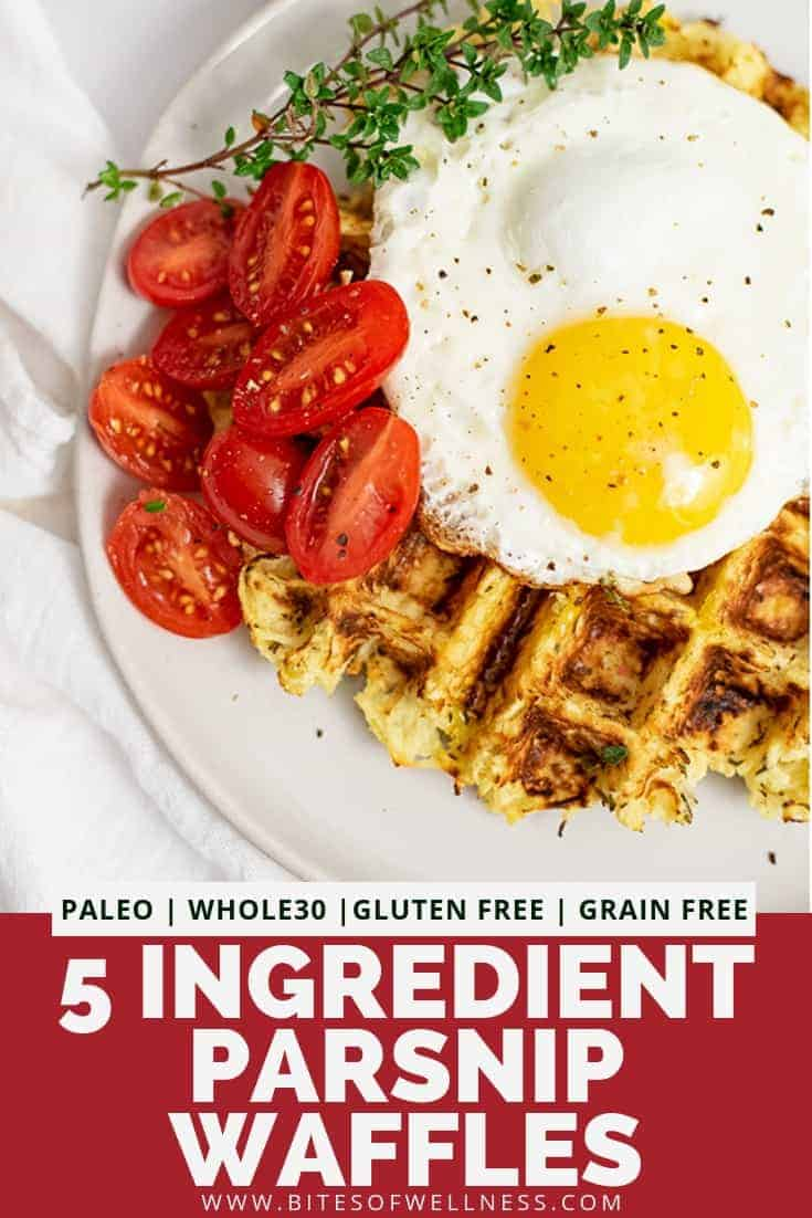 Overhead shot of parsnip savory waffle recipe topped with a fried egg, halved cherry tomatoes and thyme leaves with pinterest text on the bottom of photo