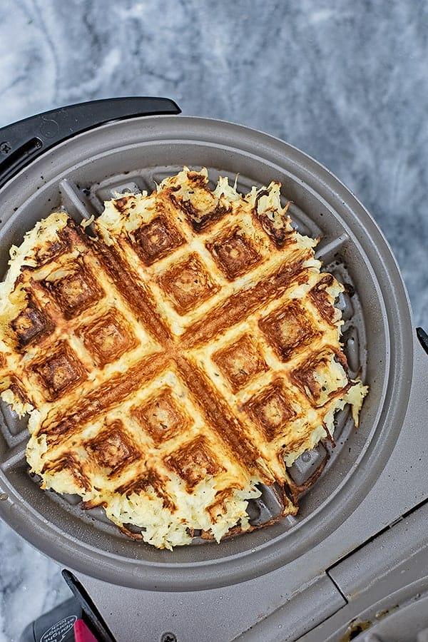 5 Ingredient parsnip waffles savory waffle recipe on a waffle iron