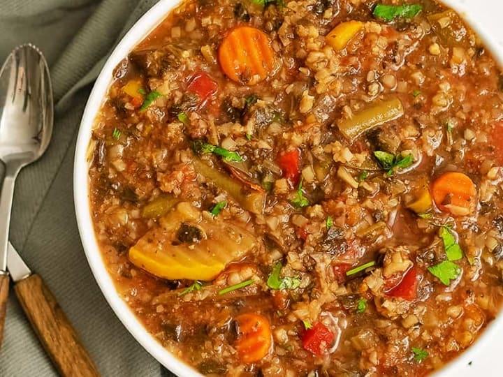 Overhead shot of large bowl of crockpot low carb vegetable soup