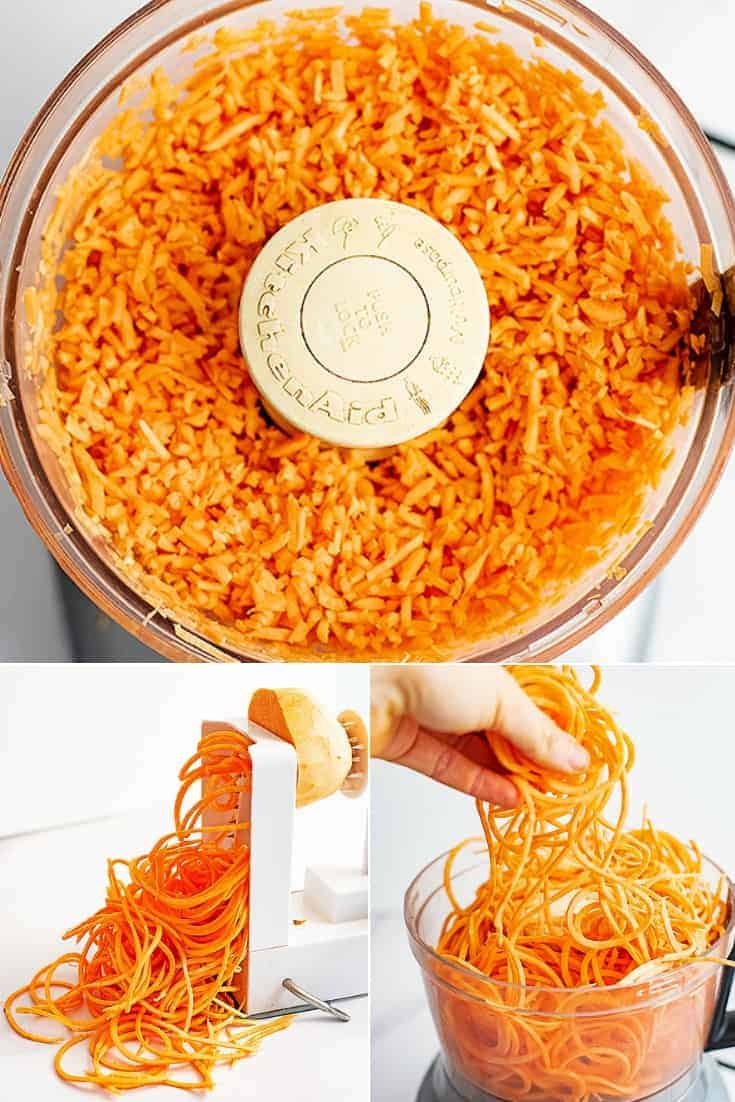 Steps on how to make sweet potato rice. Sweet potato rice in a food processor at the top, the bottom left has sweet potato noodles being made using a spiralizer and the bottom right shows the noodles in the food processor.