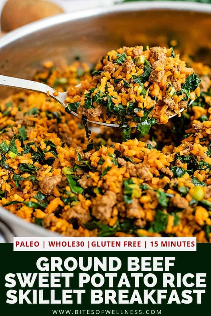 Large serving spoon scooping out a serving of the easy ground beef sweet potato rice breakfast skillet recipe with the skillet full of the recipe below the spoon. Pinterest text on the bottom of the photo