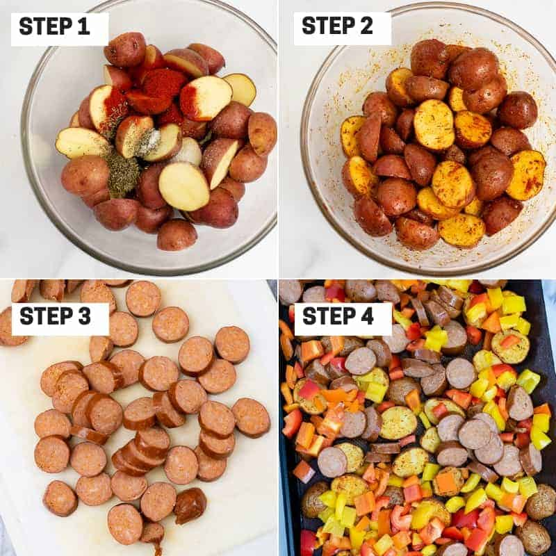 Collage of step by step instructions on how to make easy turkey kielbasa and potatoes sheet pan dinner
