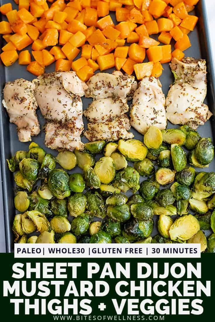 Sheet pan filled with butternuts squash cubes, dijon mustard chicken thighs and halved brussel sprouts with pinterest text on the bottom of the photo