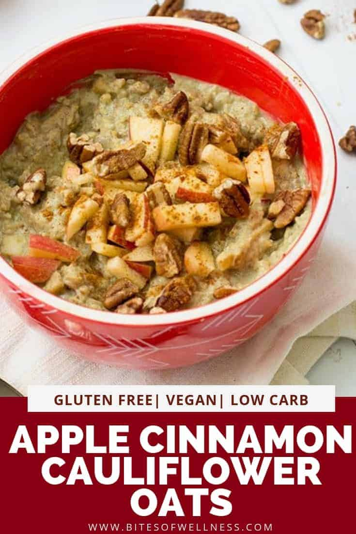 Overhead shot of red bowl filled with Apple Cinnamon Cauliflower Oats with chopped apples on top. Pinterest text on the bottom of the photo