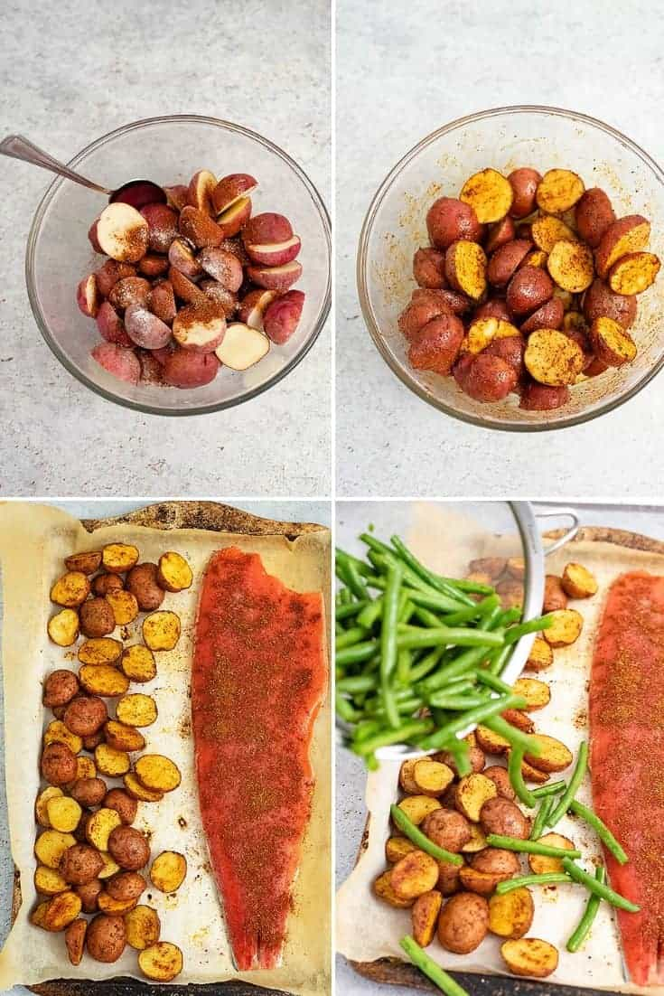 Steps to make the cajun salmon sheet pan meal (top left, add salt and cajun seasoning to potatoes, top right stir potatoes, bottom left add salmon to baking sheet after making potatoes, bottom right add green beans over potatoes)