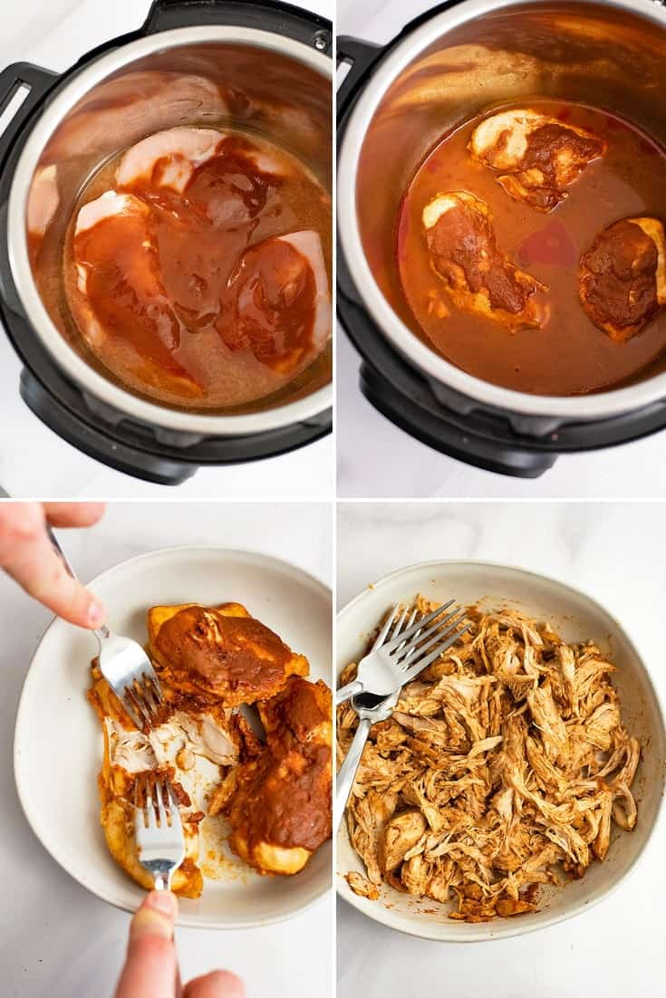 Steps to making instant pot bbq chicken (Top left: raw chicken covered in bbq sauce. Top right: the chicken after it is done cooking, before shredding in the instant pot. Bottom Left: the cooked chicken being shred on a white plate. Bottom right:The chicken fully shredded before adding it back to the sauce.)
