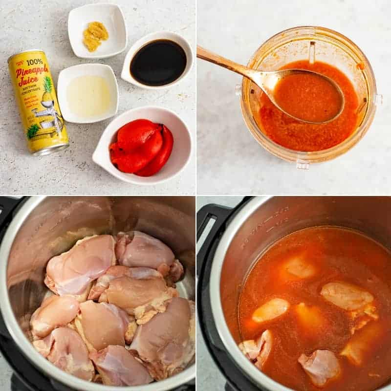 Ingredients for pressure cooker sweet and sour chicken in a collage