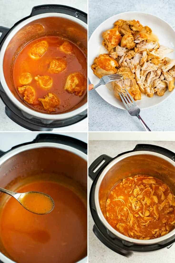 Collage of steps to make pressure cooker sweet and sour chicken thighs (top left: chicken thighs in sauce after cooking, top right, shredded chicken thighs, bottom left: thickening the sauce, bottom right, adding the chicken back to the thickened sauce)