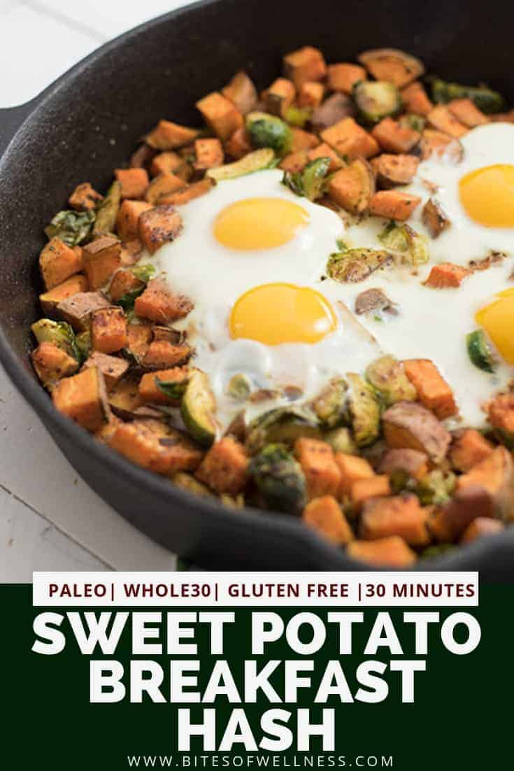 Sweet potato breakfast hash in a cast iron skillet with 4 eggs on top. Pinterest text on the bottom of the photo