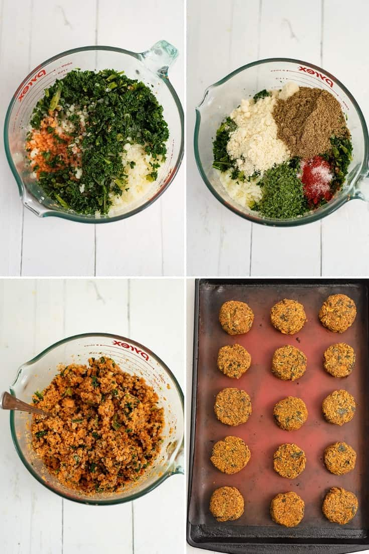 Steps to making sweet potato patties (top left glass bowl filled with sweet potato rice, cauliflower rice and frozen kale, top right: addition of almond flour, ground flax and spices, bottom left: the mixture all stirred up, bottom right, the mixture before baking)