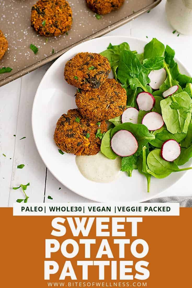 Sweet potato patties next to a small salad on a white plate. In the background you can see the baking sheet. Pinterest text on the bottom of the photo