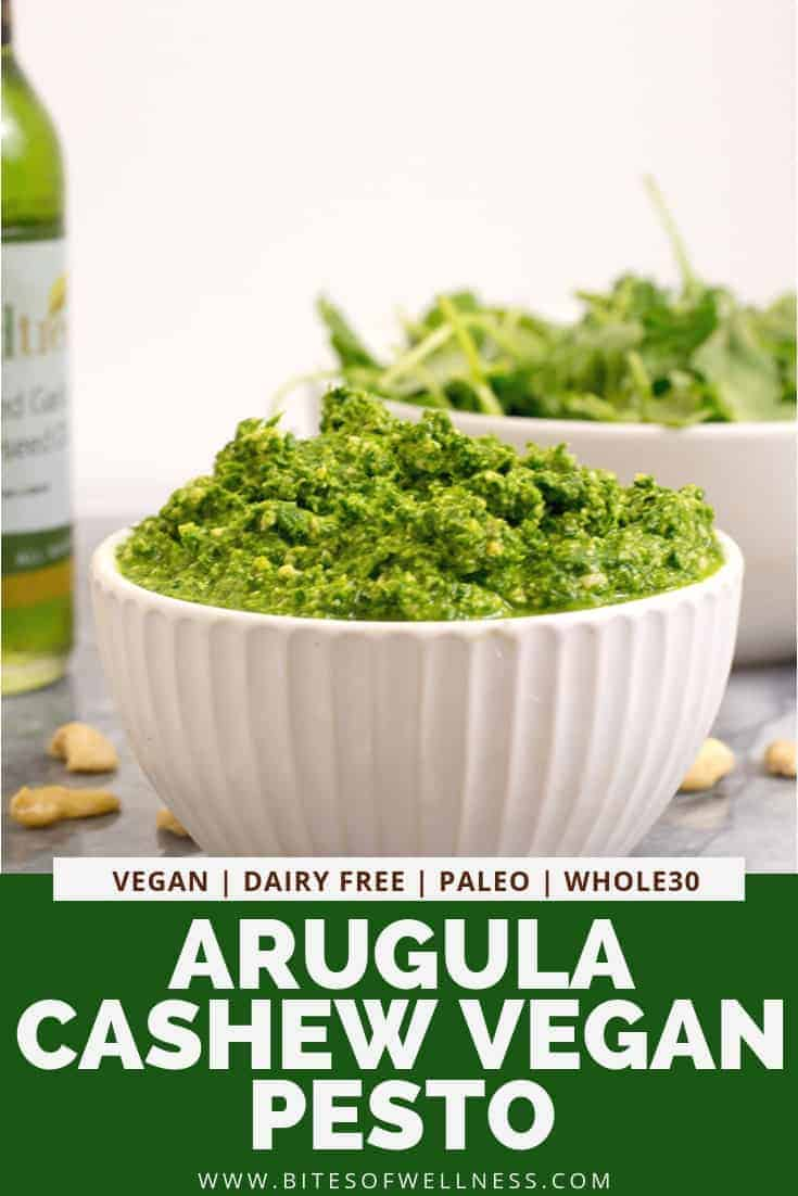 Arugula Cashew Pesto is an incredible homemade pesto that is ready in just minutes! This easy recipe is perfect over pasta or zoodles , this recipe is vegan, dairy free, gluten free, low carb, paleo and Whole30 and keto friendly.