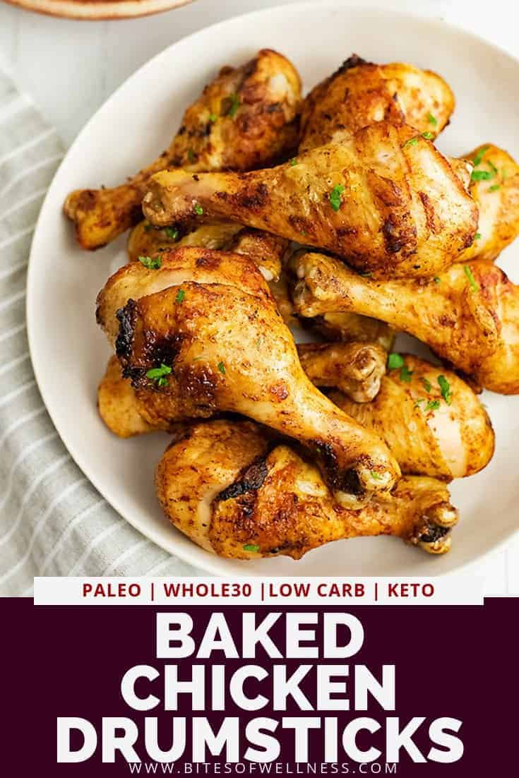 Baked chicken drumsticks recipe is going to become your new go to way to make chicken during the week! These healthy crispy baked chicken legs are so easy to make, inexpensive and super juicy and tender! Gluten free, paleo, Whole30, low carb and keto friendly, this recipe only requires 4 ingredients and about 30 minutes!