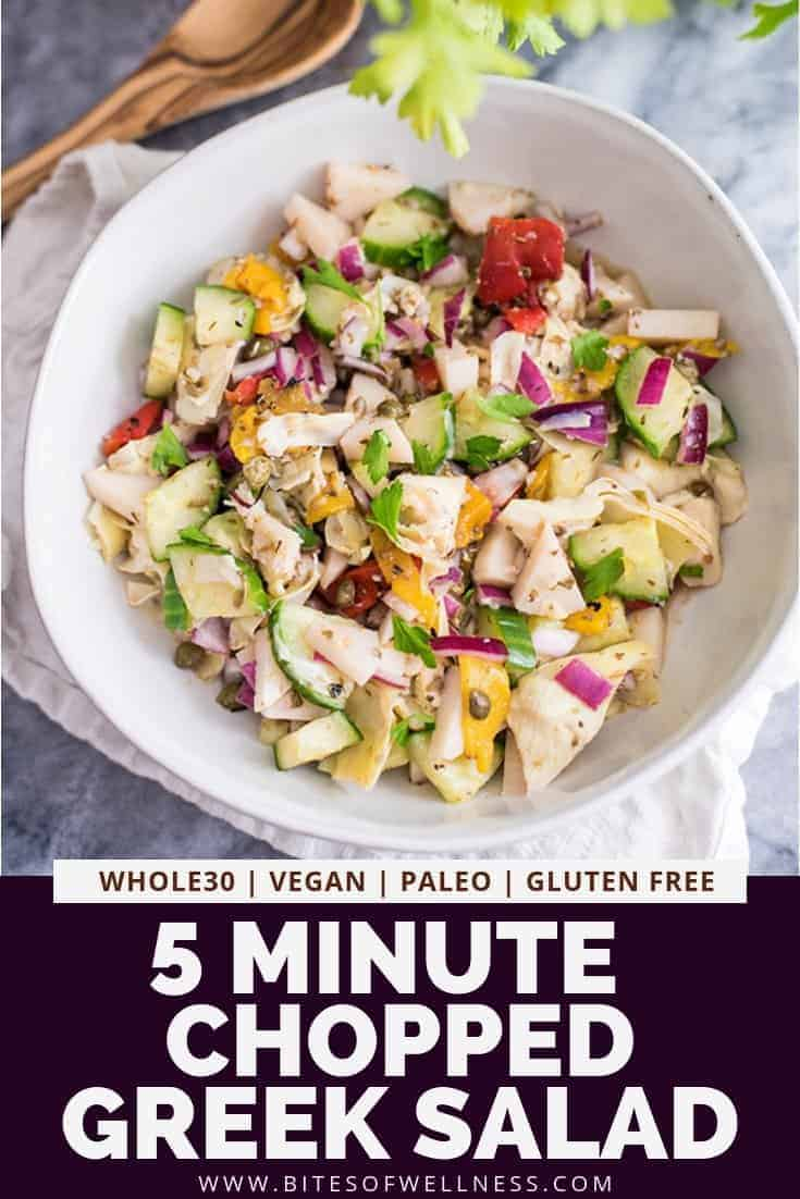 Chopped Greek Salad is the perfect easy healthy salad recipe! Made with homemade dressing, this chopped salad is great for meal prep! You can add your favorite protein to make this a full meal - chicken, shrimp,salmon, or chickpeas! Vegan, gluten free, Whole30, low carb, keto friendly!