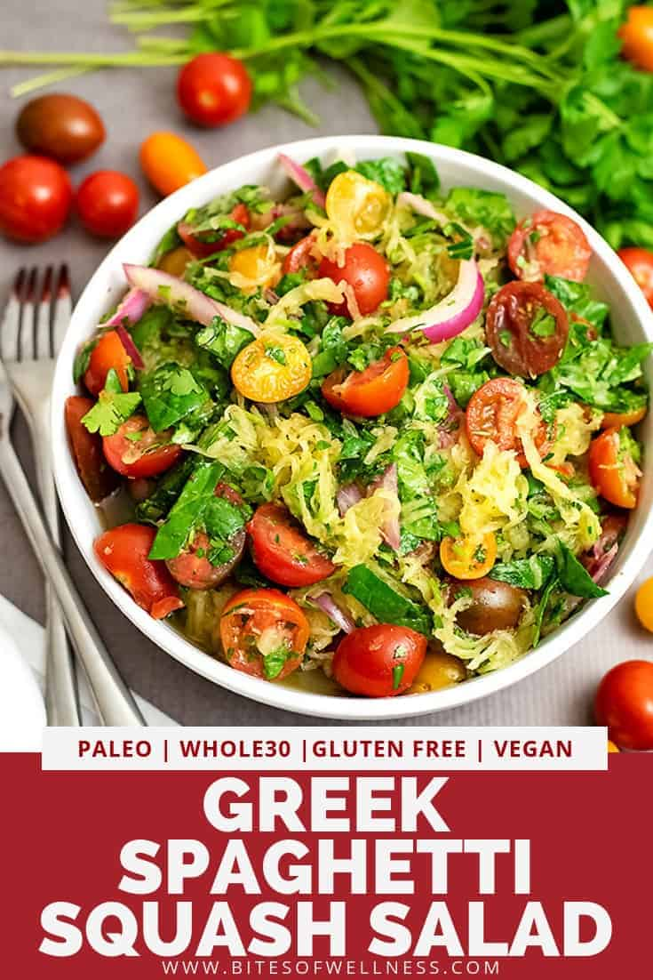 Greek spaghetti squash salad is fun take on pasta salad! Perfect for lunch or dinner and great for meal prep! This low carb recipe is packed with flavor and so easy to make! It\'s vegan, paleo, gluten free, dairy free, keto and Whole30 friendly!