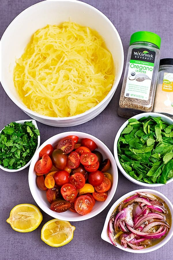 All of the ingredients for Greek Spaghetti Squash Salad
