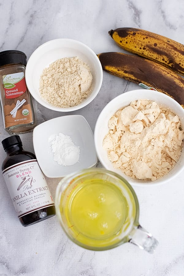 Overhead shot of the ingredients to make gluten free protein pancakes