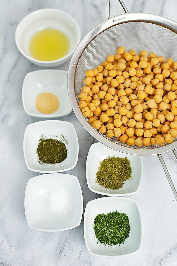 Ingredients for ranch roasted chickpeas