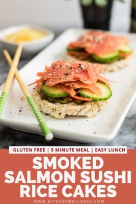 Plate filled with smoked salmon sushi rice cakes with pinterest text on the bottom
