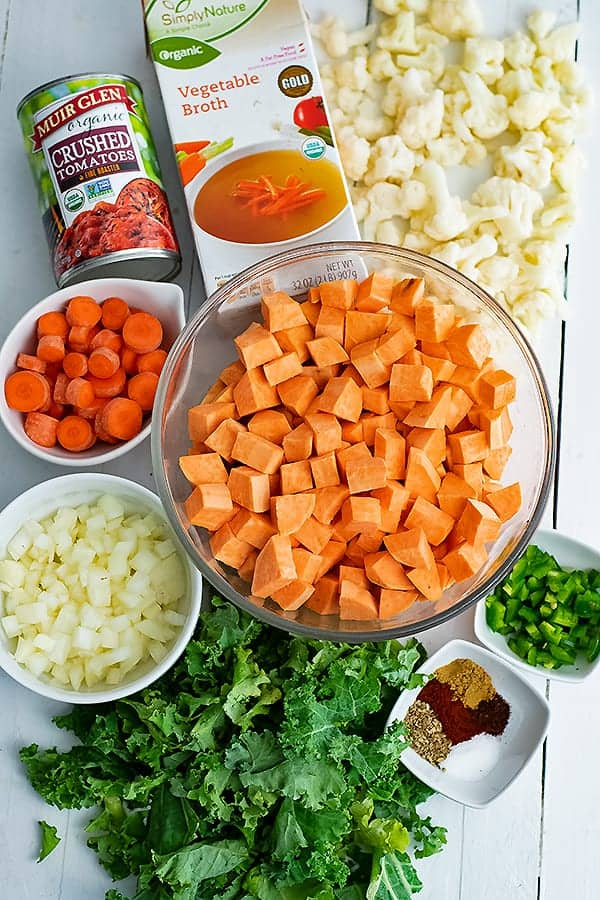 Display of all the ingredients needed for spicy sweet potato soup