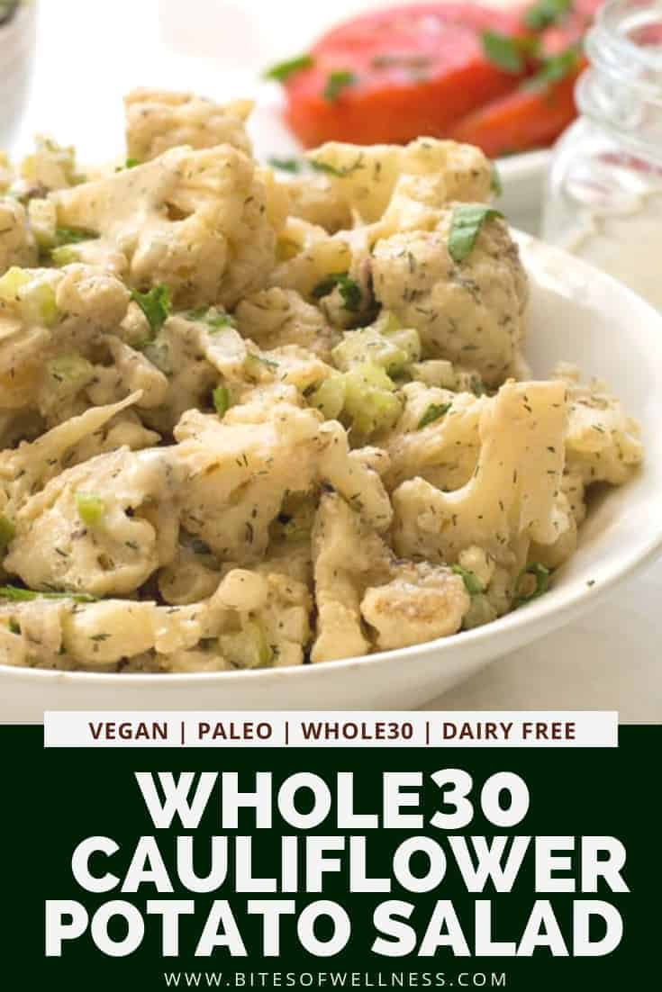 Cauliflower Potato Salad is a healthy low carb twist on traditional potato salad! Made with cauliflower, tahini and a few other key ingredients this vegan, Whole30, paleo, dairy free, keto friendly recipe is perfect for your next cookout or weeknight dinner!