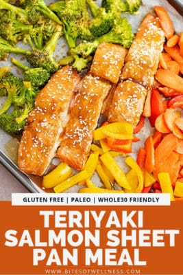 Overhead shot of baked teriyaki salmon and veggies. Sheet pan is tilted so that the entire pan is not in focus.. Pinterest text on the bottom