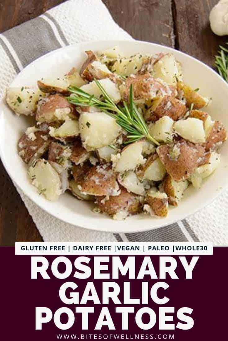 Garlic Rosemary Potatoes are the perfect healthy side dish! These potatoes are quick to make and ready in about 20 minutes! Make them on the stovetop with only 5 ingredients! Vegan, gluten free, dairy free, paleo and Whole30 friendly!