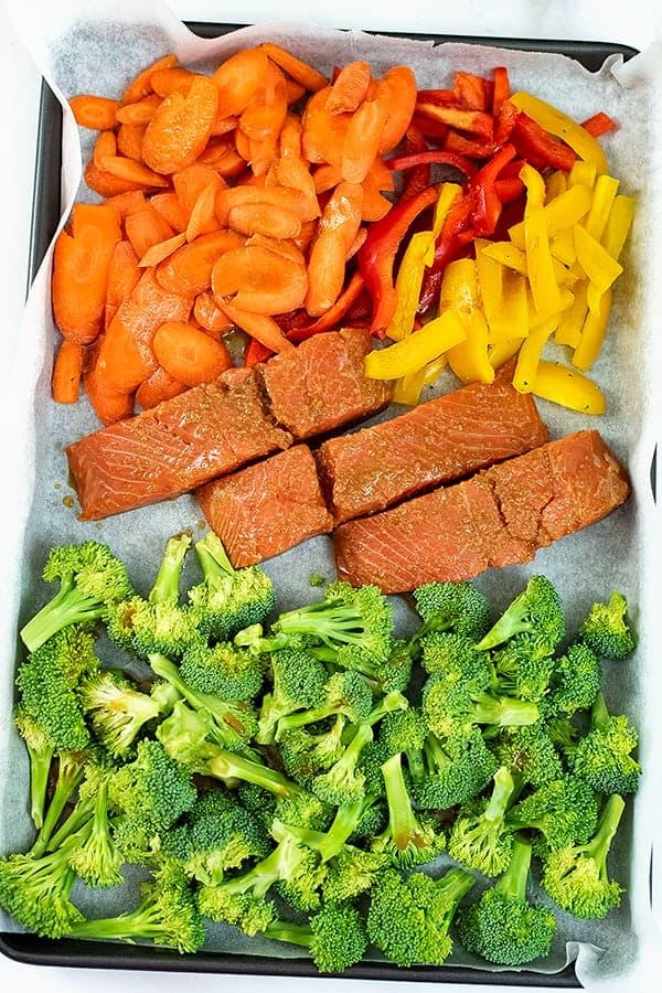 Teriyaki salmon and vegetables before baking