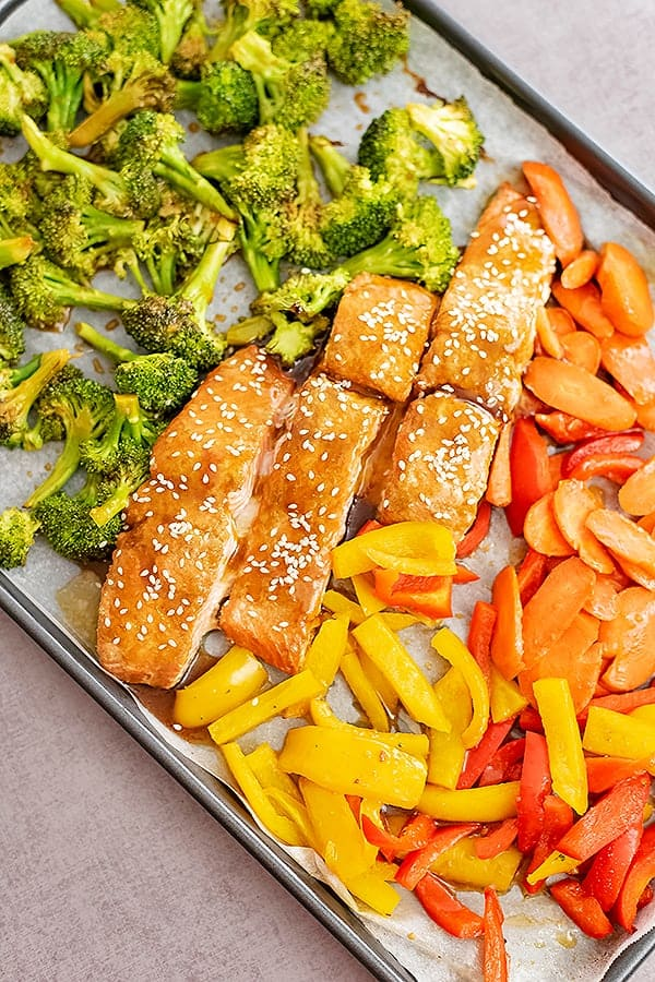 Overhead shot of baked teriyaki salmon and veggies. Sheet pan is tilted so that the entire pan is not in focus.