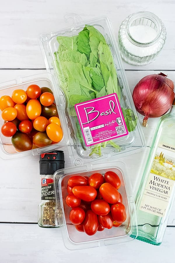 Ingredients for the tomato basil salad